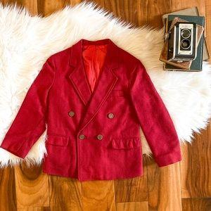 Boys size 8 YVES SAINT LAURENT red wool blazer